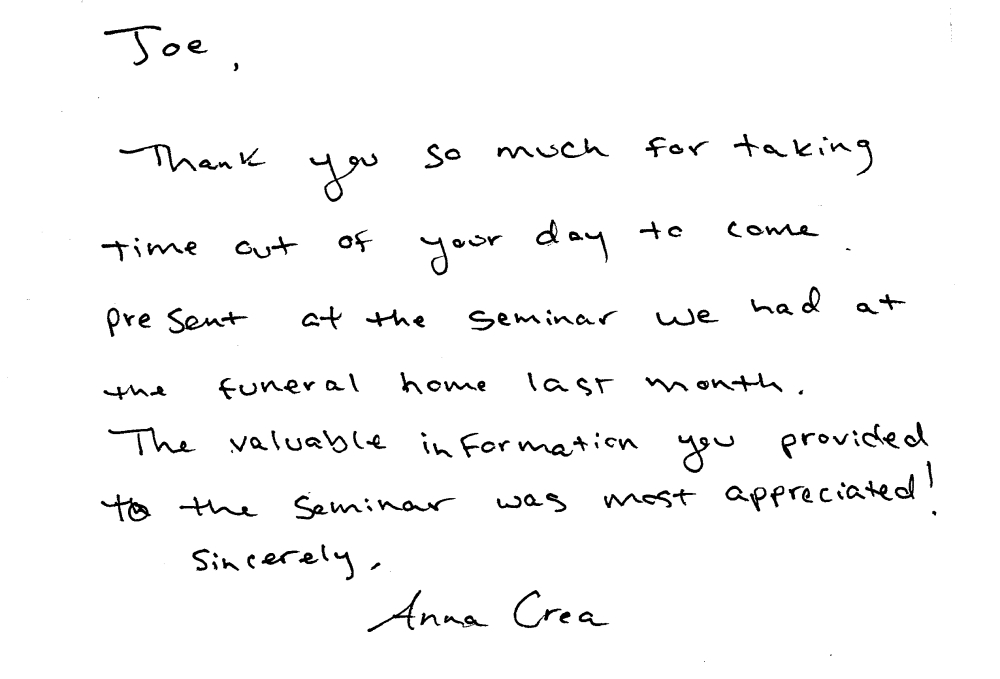 thank you note for presentation